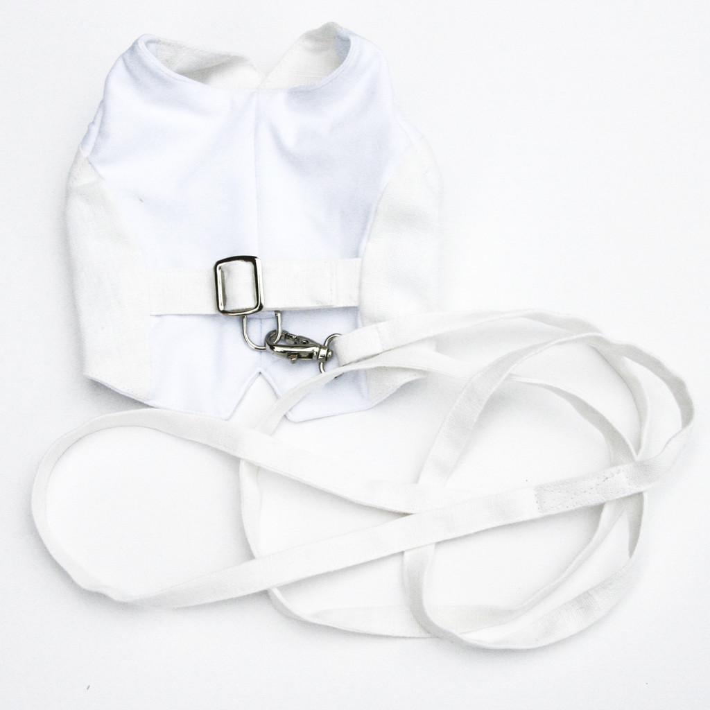 The Wyatt White Linen Leash