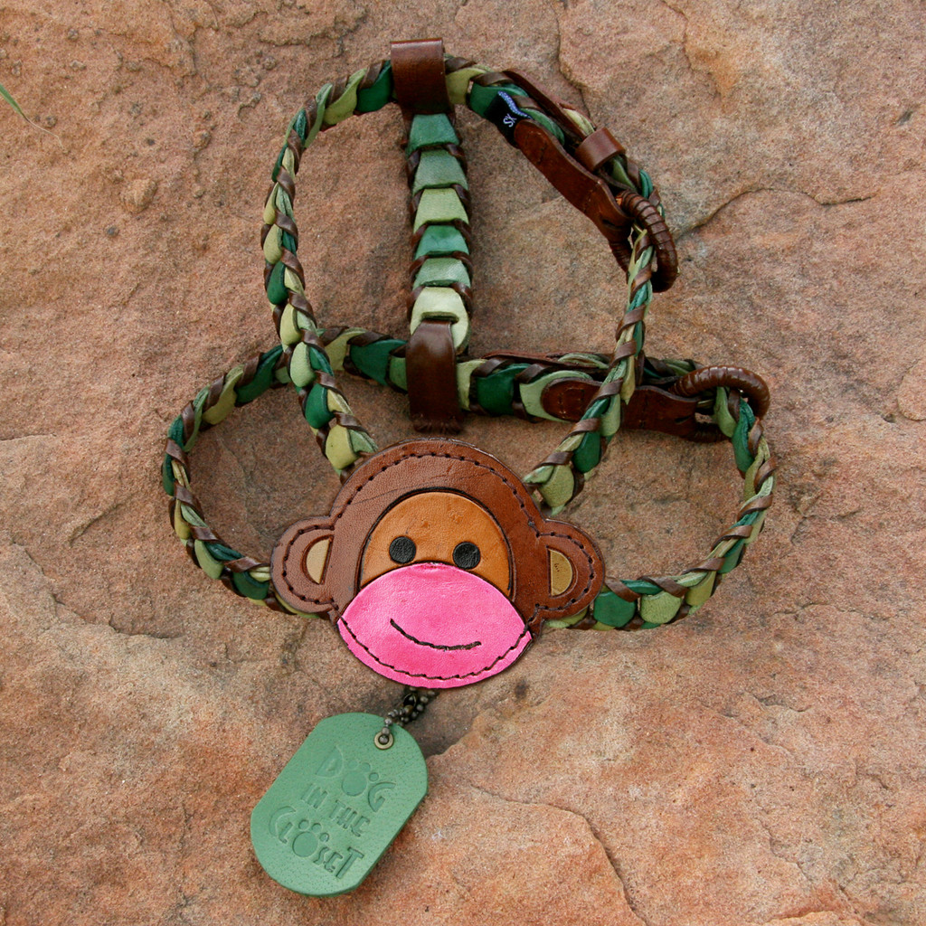 Shades of Green Leather Dog Harness with Monkey Attachment