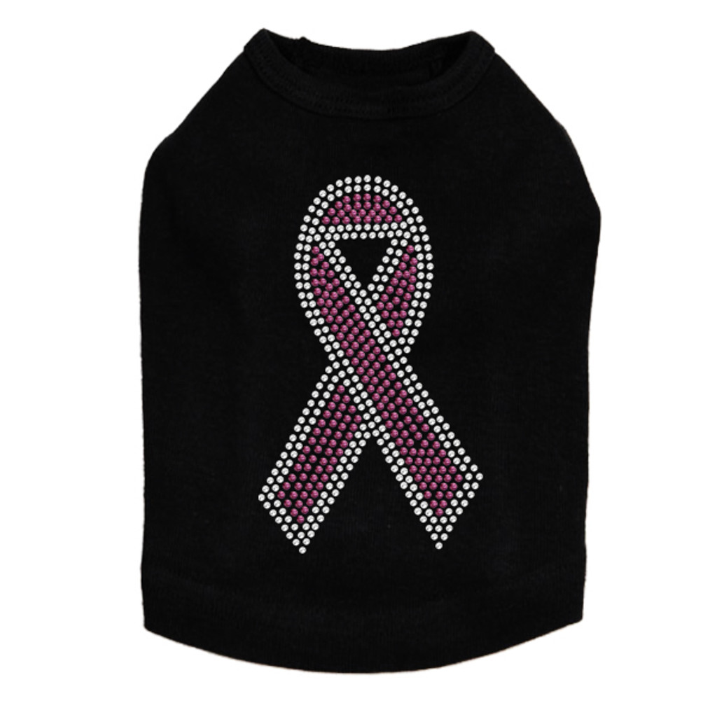 Ribbon (Pink with Clear Rhinestones) Dog Tank