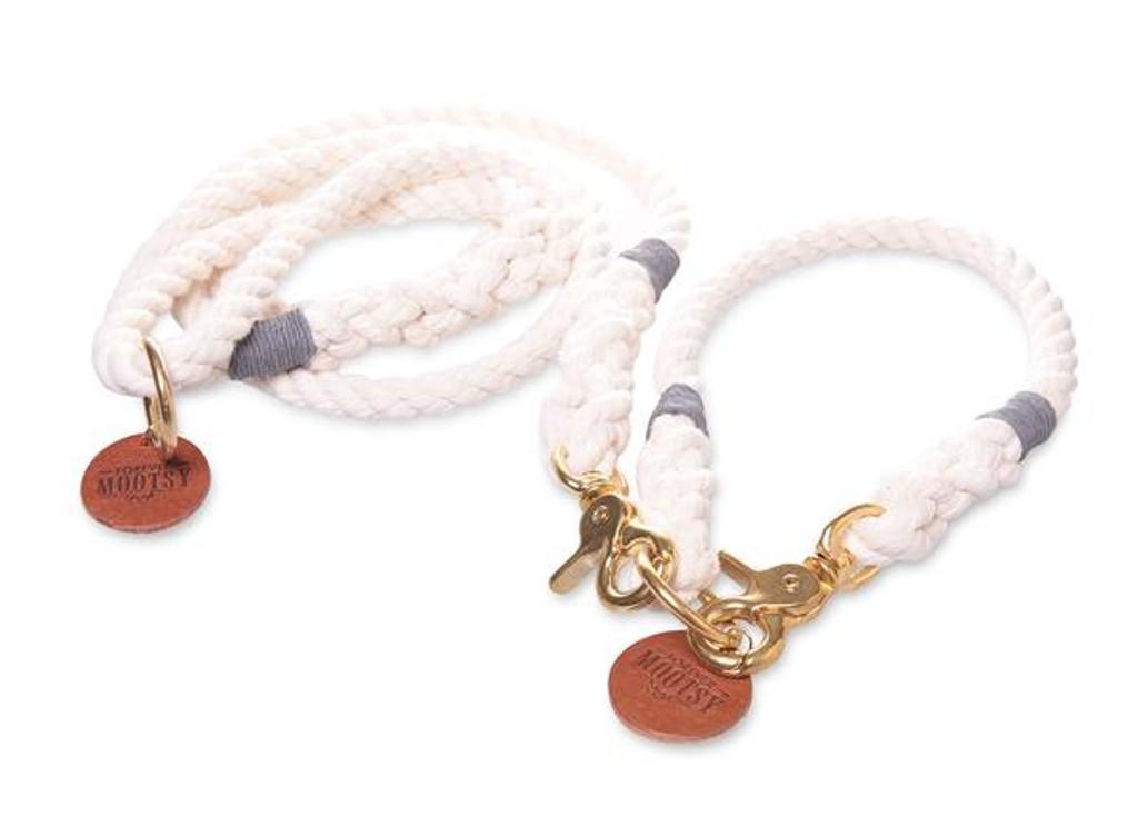 Natural White Dog Collar - Grey Hemp Twine