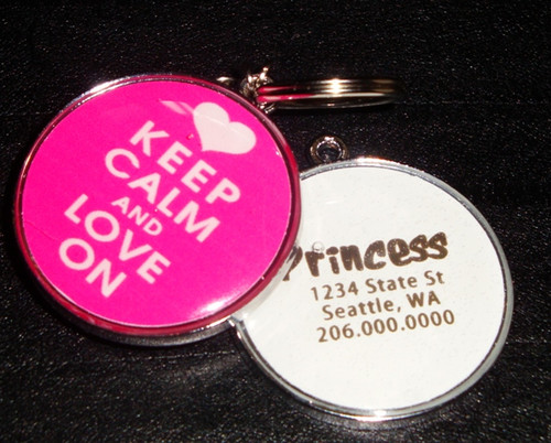 Keep Calm & Love On Pet ID Tag