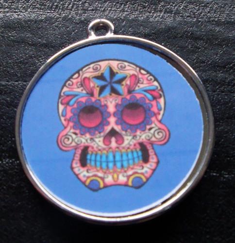 Floral Skull Dark Blue Pet ID Tag