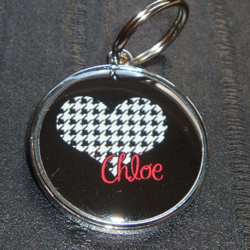 Houndstooth Heart Name Pet ID Tag