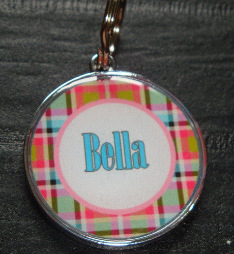 Pink & Blue Plaid Name Pet ID Tag