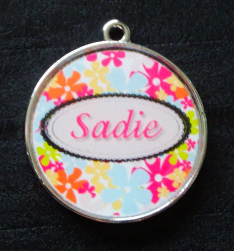 Sophie Pink Floral Pet ID Tag w/ Pet's Name