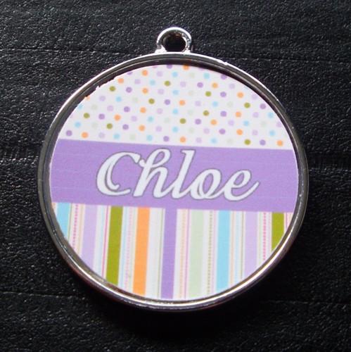 Purple Candy Polka Dot Stripes Pet ID Tag w/ Pet's Name