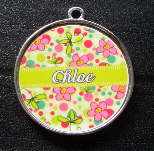 Green Bubblegum Garden Pet ID Tag w/ Pet's Name