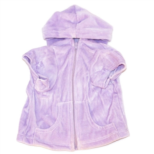 Lilac Velour Hoodie Front Zip