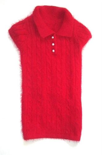 Luxury Preppy Angora Blend Polo, Red