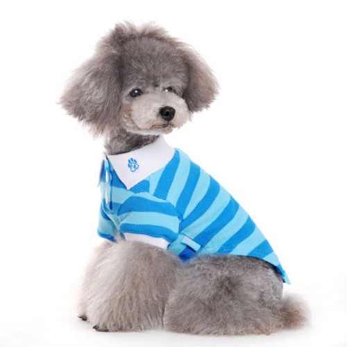 Dogo Dog Stripe Polo Shirt BLUE - Free Shipping