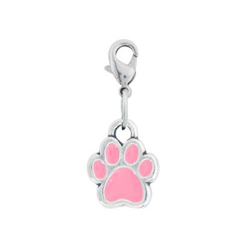 Rockin Doggie Pink Paw Dog Charm