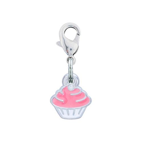 Rockin Doggie Pink Crystal Cupcake Dog Charm