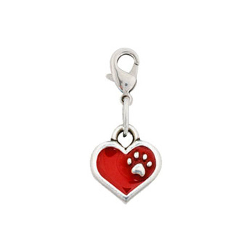 Rockin Doggie Red Heart with Paw Dog Charm