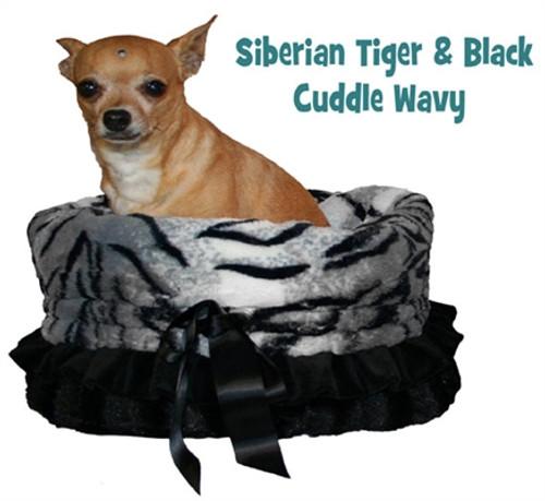 White Siberian Tiger Print & Cream Reversible Snuggle Bug w/ Black ruffle trim