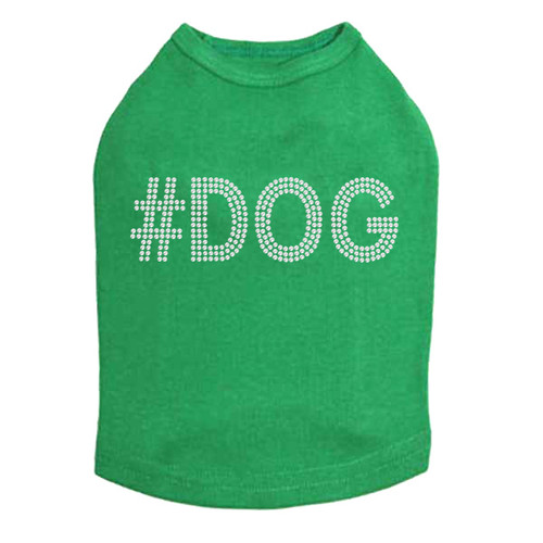 #DOG - Rhinestone - Dog Tank - Green