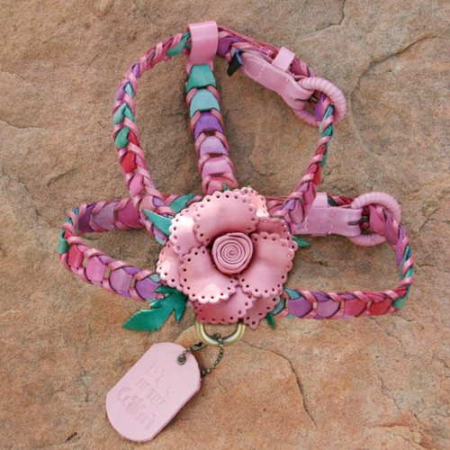 Multicolor Pink Leather Dog Harness with Light Pink Flower Attachment