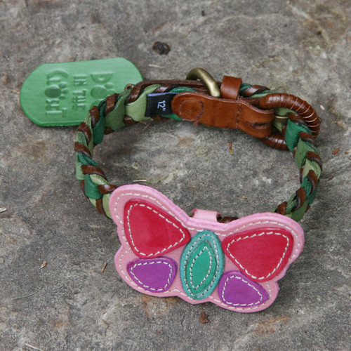 Shades of Green Leather Dog Collar with Butterfly Attachment