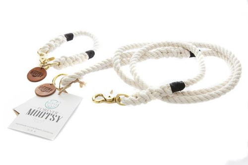 Natural White Dog Collar - Black Hemp Twine