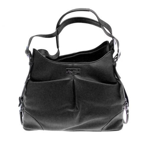 Sadie Mia Michele Black Faux Pebble Leather Carry Bag
