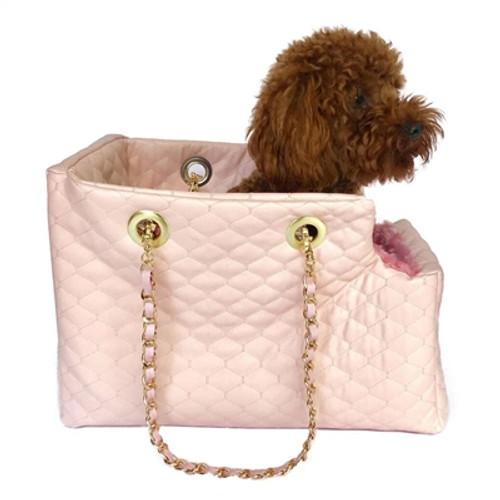 Kate Carrier in Quilted Lt. Pink with Chain Straps