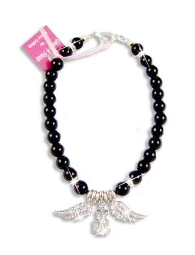Rock N Wings Pearl Dog Necklace