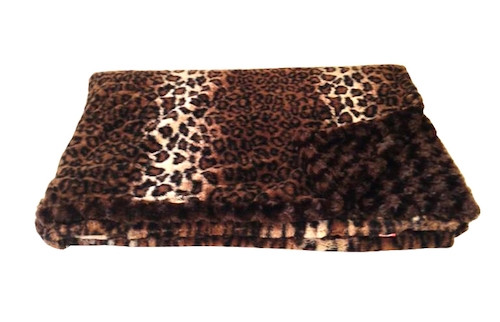 Reversible Dark Brown Leopard Luxurious Fur Throw