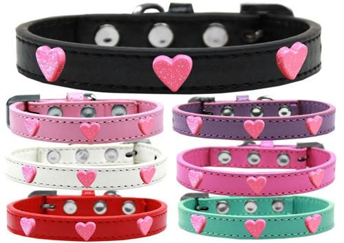Pink Glitter Heart Widget Dog Collar Ice Cream