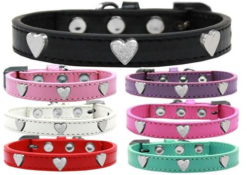 Silver Heart Widget Dog Collar