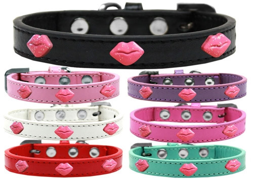Red Glitter Lips Widget Dog Collar