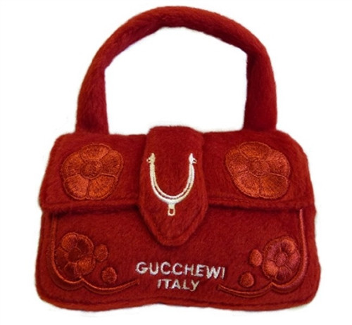 Dog Diggin Designs Gucchewi Red Floral Purse