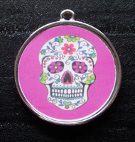 Floral Skull Purple Pet ID Tag