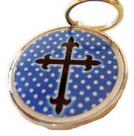 Cross Polka Dot Blue Pet ID Tag