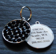 Jet Black Rhinestone Pet ID Tag
