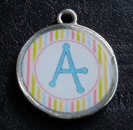 Daydream Candy Stripes Pet ID Tag w/ Pet's Name or Initial