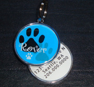 Pawprint Name Blue Pet ID Tag