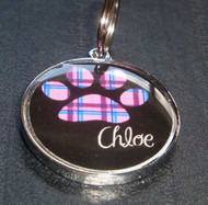 Retro Pink Plaid Pawprint Name Pet ID Tag