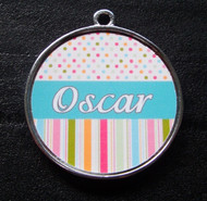 Blue Candy Polka Dot Stripes Pet ID Tag w/ Pet's Name