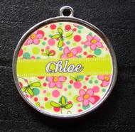 Green Bubblegum Garden Pet ID Tag w/ Pet's Name