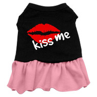 Kiss Me Screen Printed Two-Tone Dress- Pink