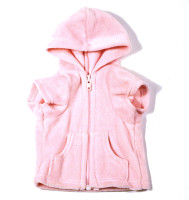 Light Pink Velour Hoodie Front Zip