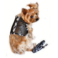 Skull Cool Mesh Dog Harness and Leash - Black and White