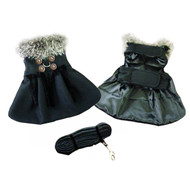 Black Wool and Silver Fur Collar Harness Coat