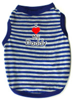 I Love My Daddy Striped Tank - Blue & Gray