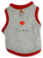 I Love My Daddy Tank - Gray/Red w/ D-Ring