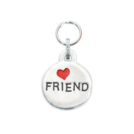Friend Pet ID Tag with Red Glitter Heart
