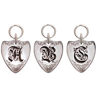 Sterling Silver Crest Initial Pet ID Tag