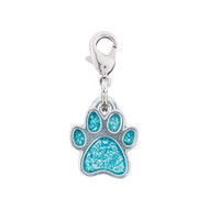 Rockin Doggie Blue Sparkle Paw Dog Charm
