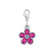 Rockin Doggie Pink Sparkle Flower Crystal Dog Charm