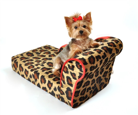 Leopard Chaise with Sangria Trim