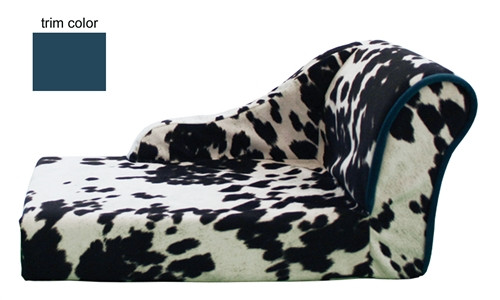 Cowprint Chaise with Turquoise Trim